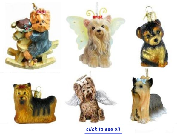 yorkie christmas ornaments - Yorkie Christmas Cards & Yorkshire Terrier Ornaments