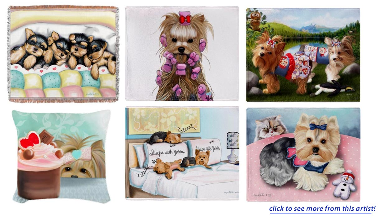 Yorkshire Terrier Pillows, Yorkie Tapestry Throws